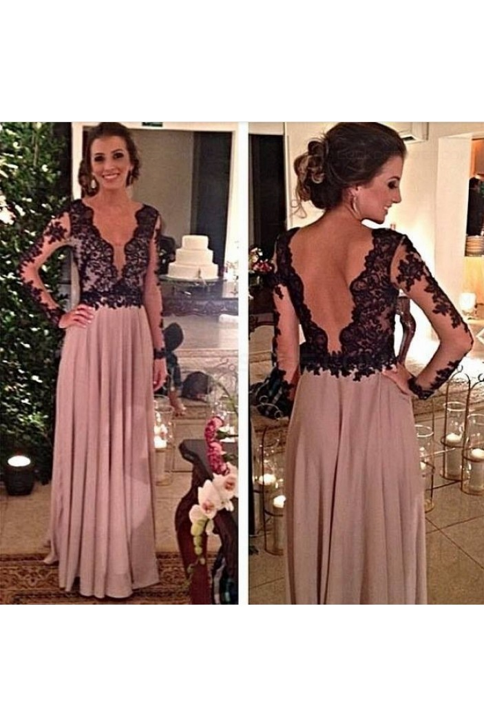Long Sleeves Black Lace Mother of The Bride Dresses Party Evening Gowns 3020239