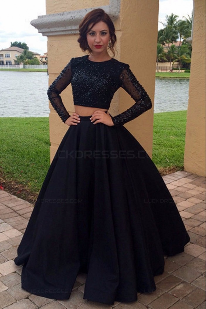 Long Sleeves Two Pieces Black Prom Dresses Party Evening Gowns 3020246