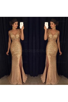 Mermaid  V-Neck Gold Sequins Beads Long Prom Dresses Party Evening Gowns 3020249