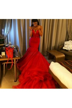 Mermaid Sweetheart Long Red Prom Dresses Party Evening Gowns 3020258