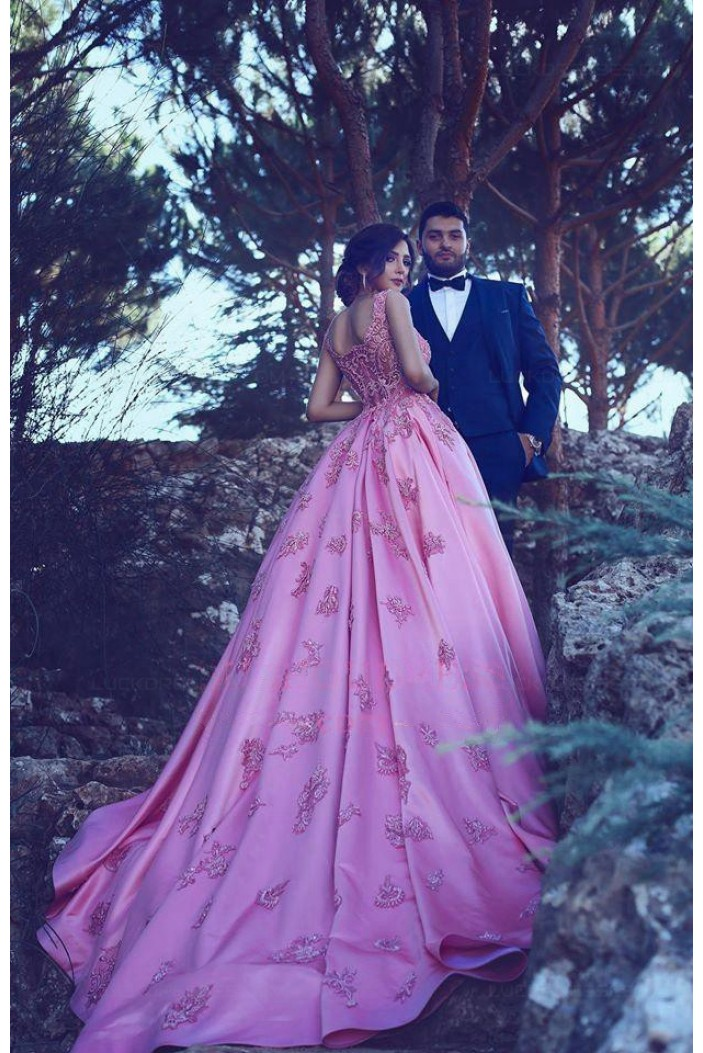 Ball Gown Lace Long Pink Prom Dresses Party Evening Gowns 3020260