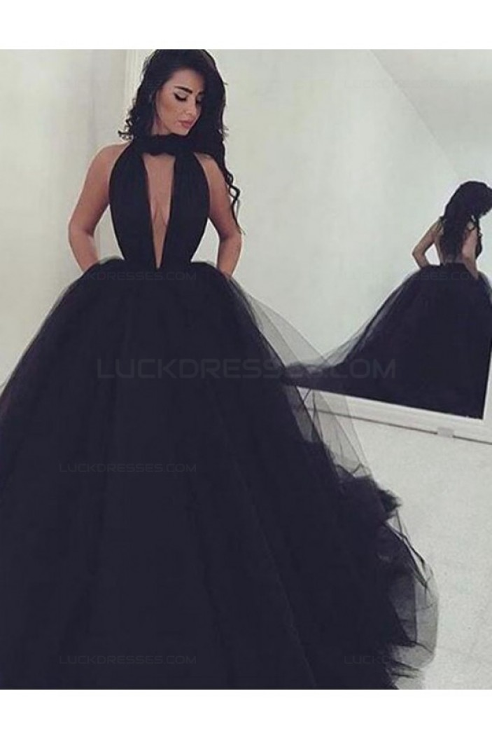 Long Black Ball Gown Prom Dresses Party Evening Gowns 3020262