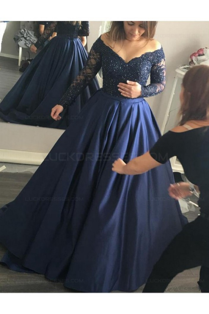 Long Sleeve Navy Off-the-Shoulder Lace Prom Dresses Party Evening Gowns 3020263