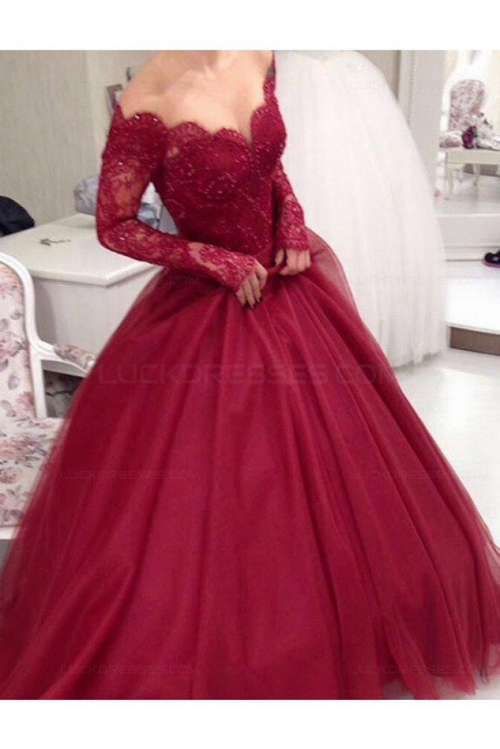 Long Sleeve Burgundy Off-the-Shoulder Lace Prom Dresses Party Evening Gowns 3020264