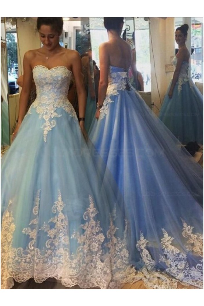 Long Blue Lace Prom Dresses Party Evening Gowns 3020265
