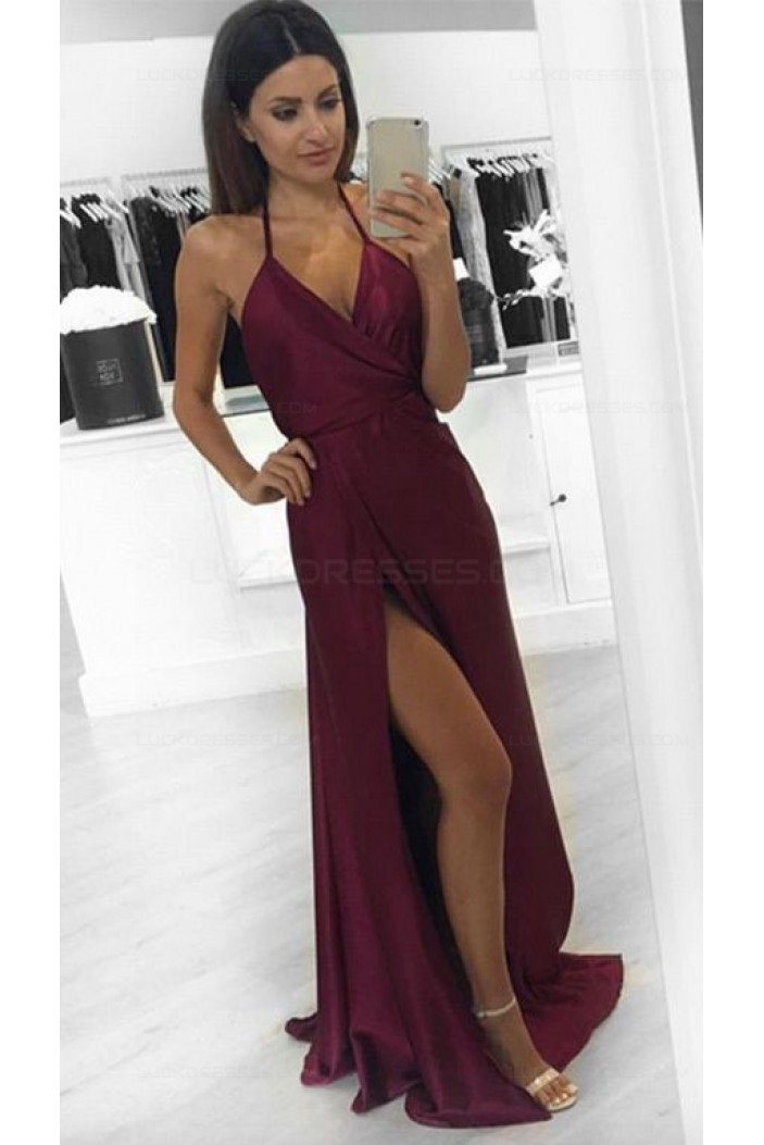 Sexy Side Slit V-Neck Long Prom Dresses Party Evening Gowns 3020266