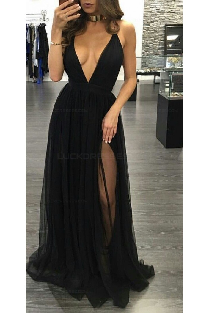 Sexy Long Black V-Neck Prom Dresses Party Evening Gowns 3020267