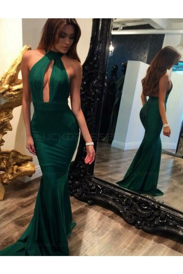Mermaid Long Green Halter Prom Dresses Party Evening Gowns 3020270