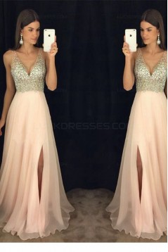 A-Line V-Neck Beaded Sequins Long Chiffon Prom Dresses Party Evening Gowns 3020276