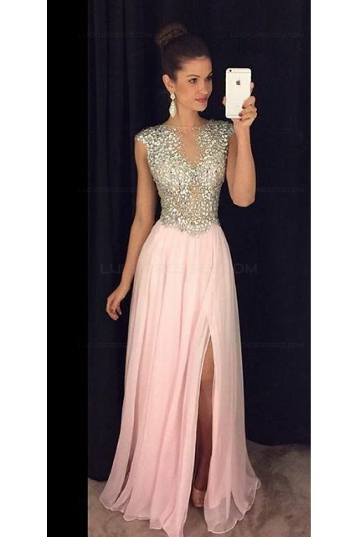 Beaded Long Pink Chiffon Prom Dresses Party Evening Gowns 3020277