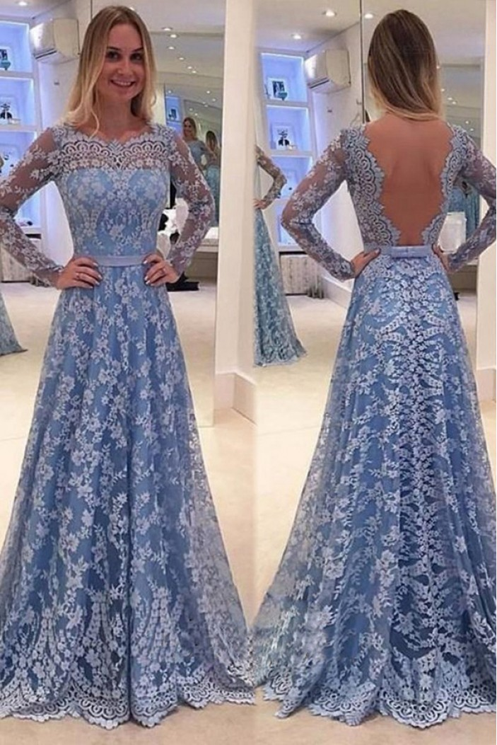 A-Line Long Sleeves Lace Prom Dresses Party Evening Gowns 3020278