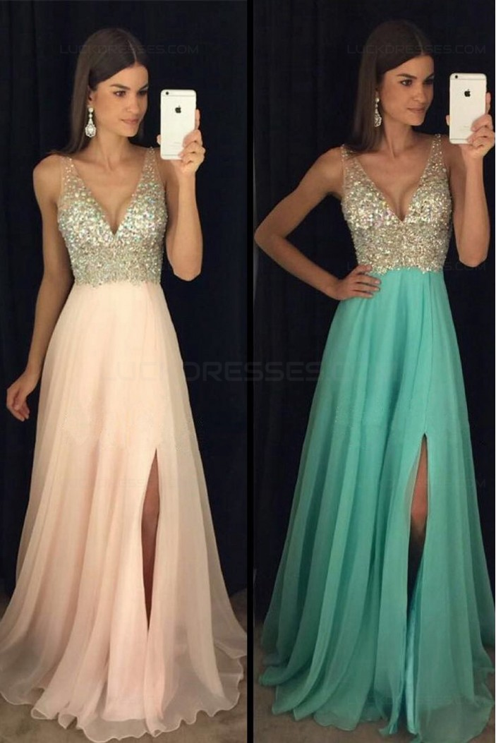 A-Line Beaded Sequins V-Neck Long Chiffon Prom Dresses Party Evening Gowns 3020280