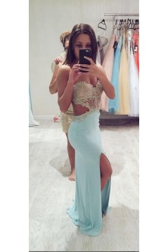 Long Blue Lace Chiffon Prom Dresses Party Evening Gowns 3020282