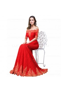 Mermaid Off-the-Shoulder Long Red Lace Prom Dresses Party Evening Gowns 3020283