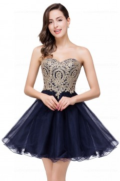 A-Line Sweetheart Gold Lace Appliques Short Prom Dresses Party Evening Gowns 3020284