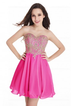A-Line Sweetheart Gold Lace Appliques Short Purple Prom Dresses Party Evening Gowns 3020285