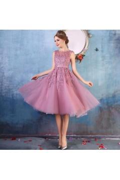 A-Line Illusion Neckline Lace Short  Prom Dresses Party Evening Gowns 3020286