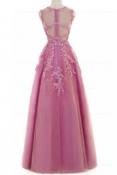 A-Line Illusion Neckline Lace Long Prom Dresses Party Evening Gowns 3020287