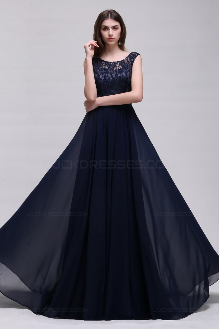 A-Line Lace Chiffon Long Navy Prom Dresses Party Evening Gowns 3020288