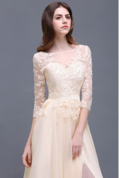 A-Line 3/4 Length Sleeve Lace Prom Dresses Party Evening Gowns 3020289