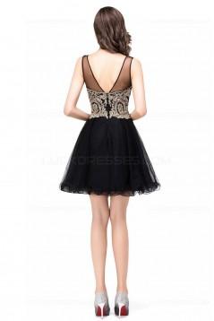 A-Line Illusion Neckline Gold Lace Appliques Short Prom Dresses Party Evening Gowns 3020290