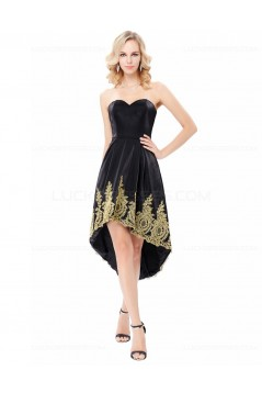 High Low Sweetheart Short Black Gold Lace Appliques Prom Dresses Party Evening Gowns 3020291