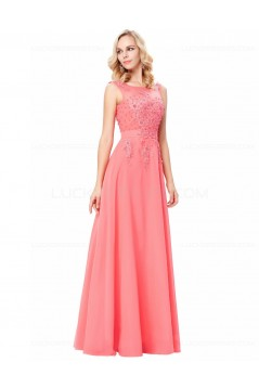A-Line Illusion Neckline Lace Chiffon Prom Dresses Party Evening Gowns 3020294