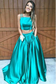 A-Line Two Pieces Green Prom Dresses Party Evening Gowns 3020295
