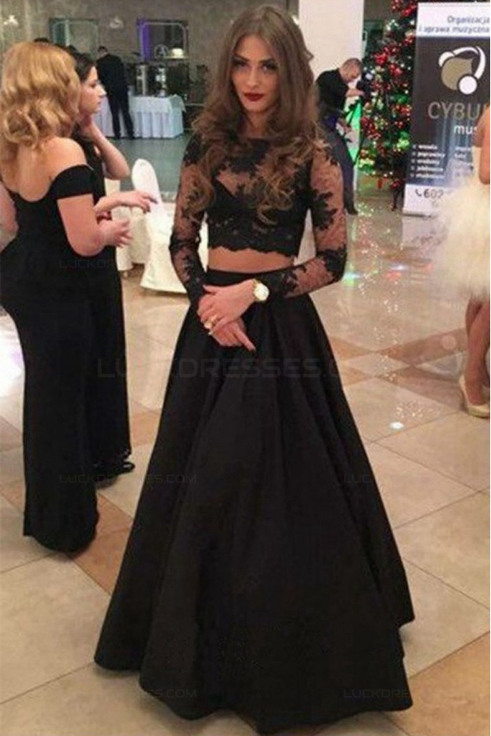 Two Pieces Long Sleeves Black Lace Prom Dresses Party Evening Gowns 3020296