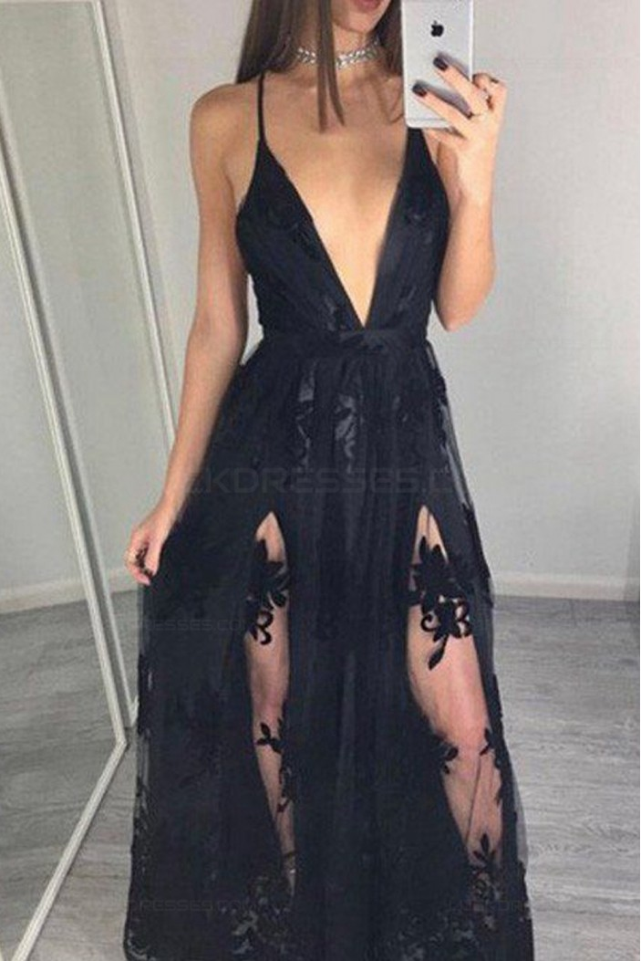 Sexy V-Neck Long Black Lace Prom Dresses Party Evening Gowns 3020298