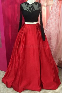 Two Pieces Long Sleeves Black Lace Red Prom Dresses Party Evening Gowns 3020299