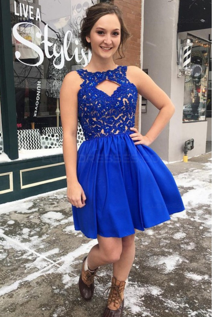 Short Blue Lace Prom Dresses Party Evening Gowns 3020300