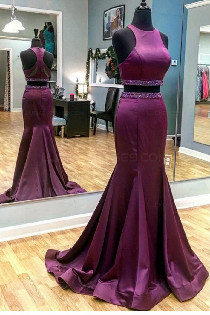 Mermaid Two Pieces Beaded Long Purple Prom Dresses Party Evening Gowns 3020301