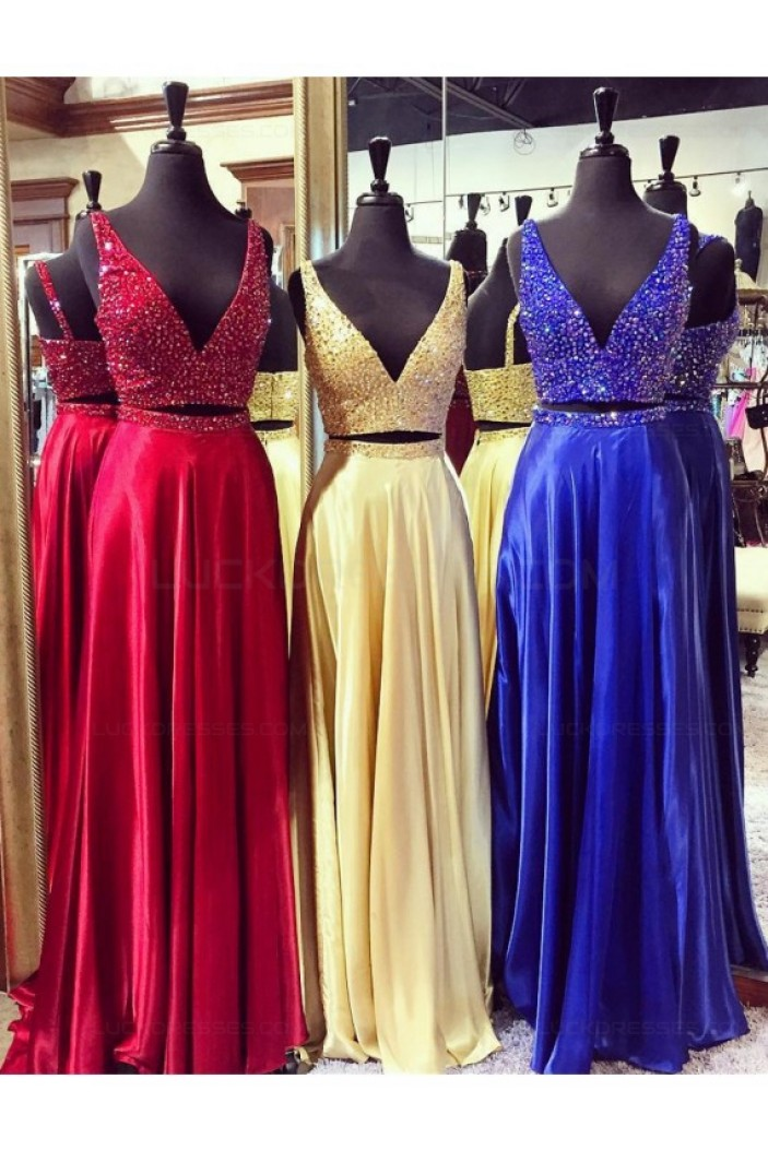 Beaded Two Pieces Long Prom Dresses Party Evening Gowns 3020302