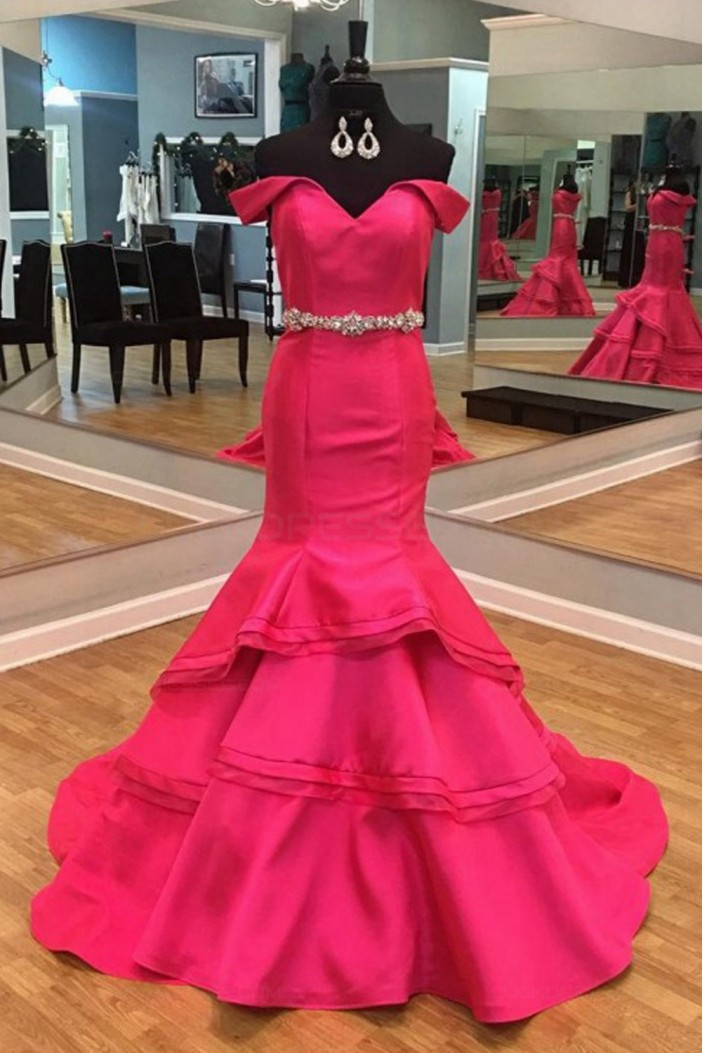 Mermaid Off-the-Shoulder Beaded Long Prom Dresses Party Evening Gowns 3020303