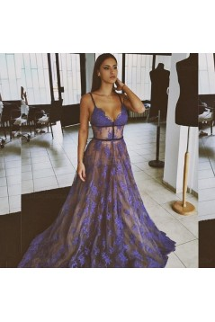 Sexy Spaghetti Straps Lace Long Blue Prom Dresses Party Evening Gowns 3020307
