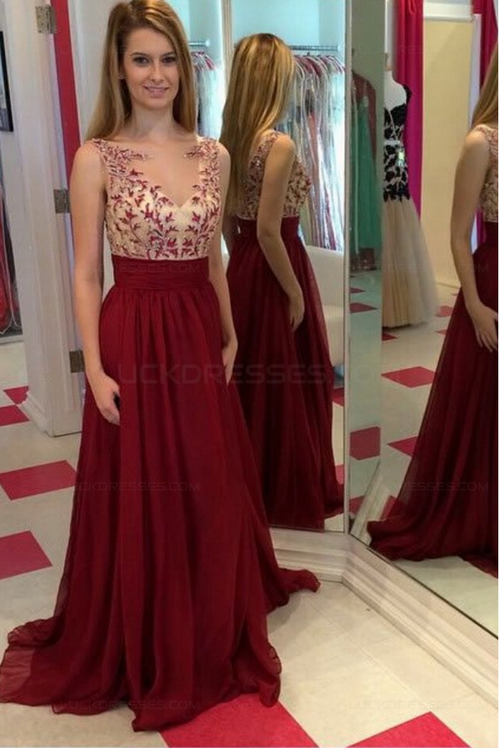 A-Line Illusion Neckline Burgundy Lace and Chiffon Prom Dresses Party Evening Gowns 3020308