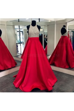 A-Line Halter Sequins and Satin Long Red Prom Dresses Party Evening Gowns 3020309