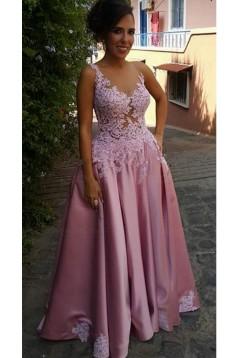 A-Line Illusion Neckline Lace and Satin Long Prom Dresses Party Evening Gowns 3020310