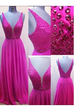 A-Line V-Neck Beaded Long Chiffon Prom Dresses Party Evening Gowns 3020313