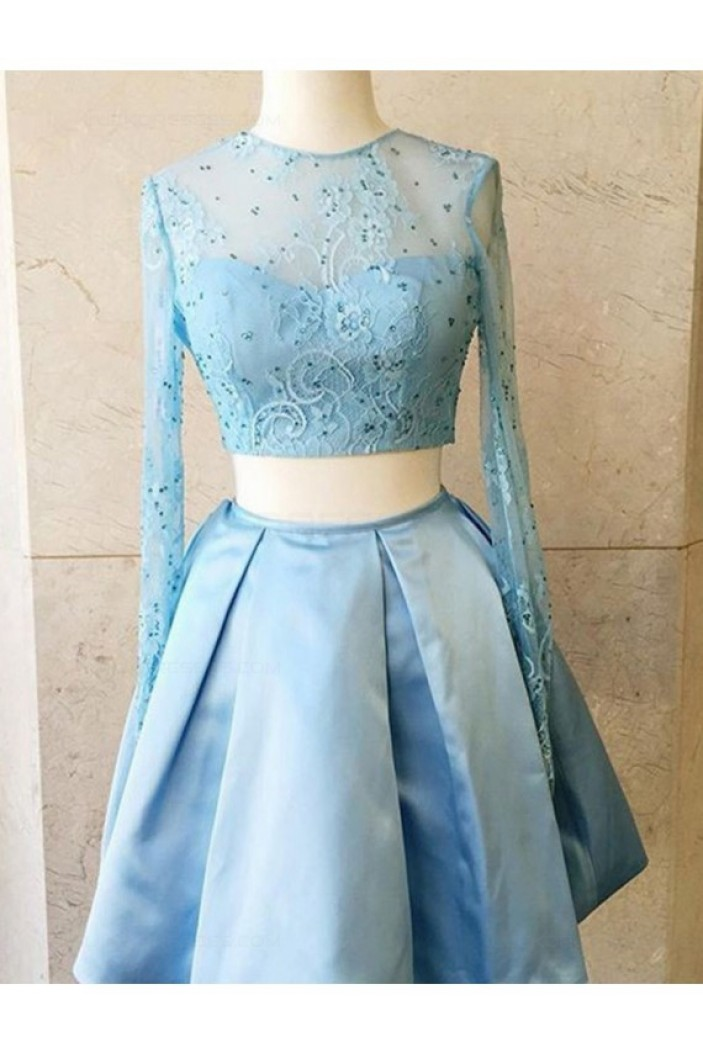 Two Pieces Long Sleeves Lace Satin Short Prom Dresses Party Evening Gowns 3020316