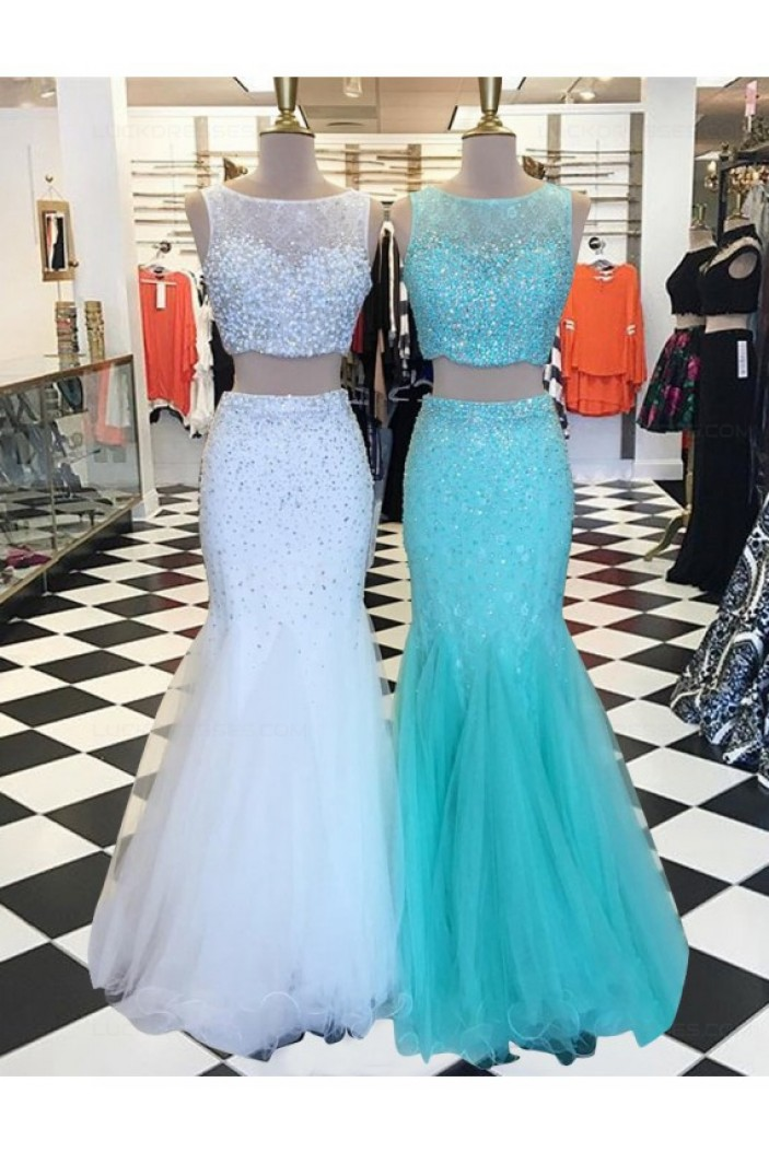 Two Pieces Mermaid Beaded Prom Dresses Party Evening Gowns 3020317