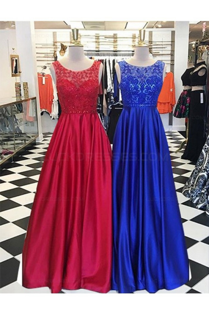 A-Line Lace and Satin Long Prom Dresses Party Evening Gowns 3020318