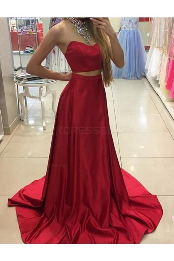 Two Pieces Long Red Prom Dresses Party Evening Gowns 3020321