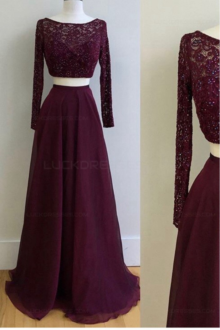 Two Pieces Long Sleeves Lace Chiffon Prom Dresses Party Evening Gowns 3020324