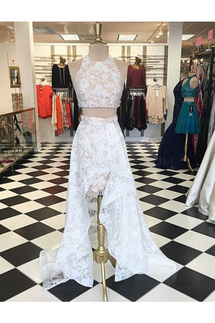 High Low Two Pieces White Lace Prom Dresses Party Evening Gowns 3020326