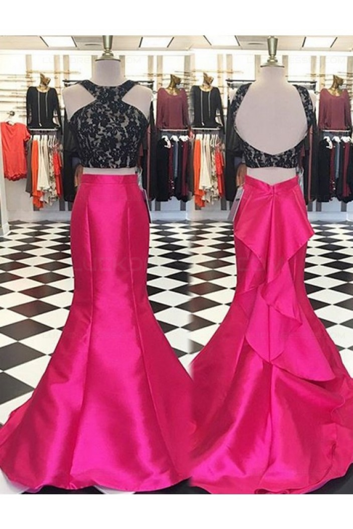 Mermaid Two Pieces Lace Prom Dresses Party Evening Gowns 3020327