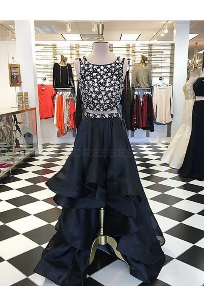 High Low Beaded Two Pieces Prom Dresses Party Evening Gowns 3020328
