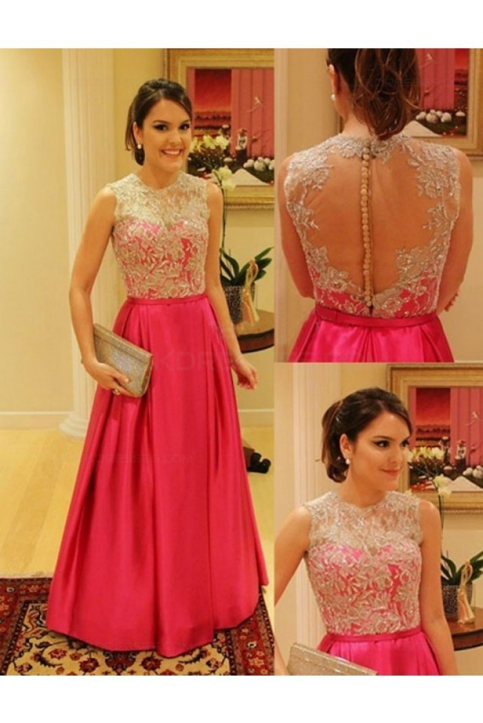 A-Line Jewel Neckline Prom Dresses Party Evening Gowns 3020330