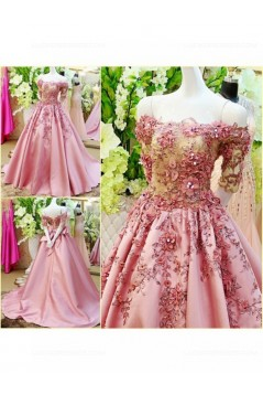 A-Line Off-the-Shoulder Short Sleeve Long Pink Prom Dresses Party Evening Gowns 3020331